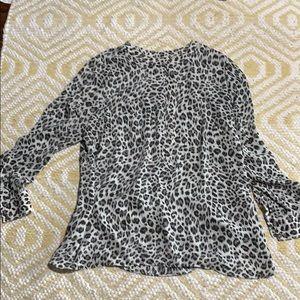 Zipper front Leopard print Dress blouse